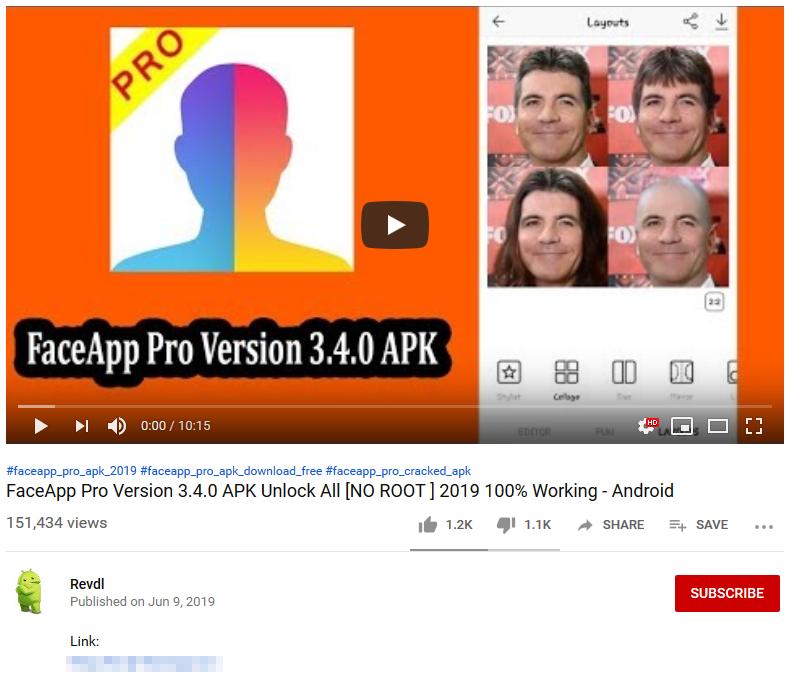 YouTube video, které nabízí stažení instalačního balíčku (APK) aplikace FaceAppPro pro Android