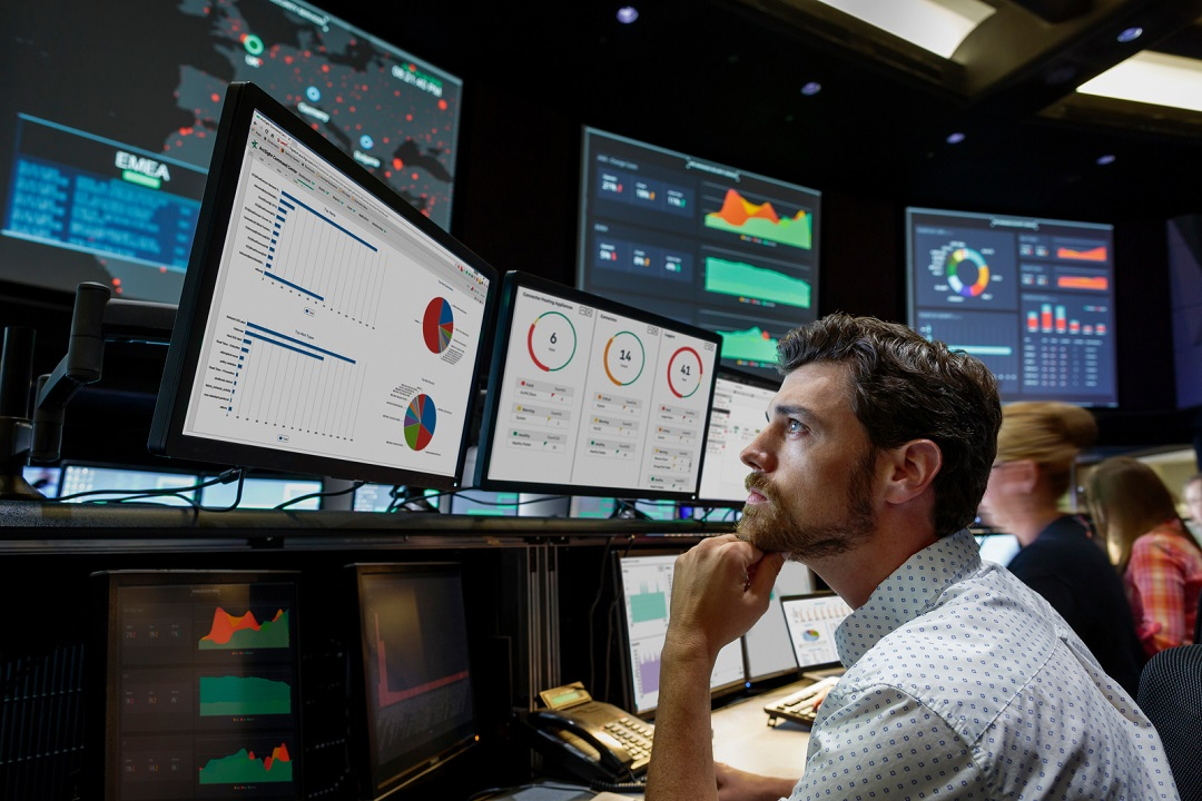 People working in a security operations center